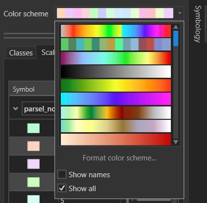 Renk Şeması: Semboloji bölmesinde süreklilik gösteren veya verinizi rastgele renklendiren bir çok renk şeması vardır. Unique Values için rastgele renk şeması daha uygundur.