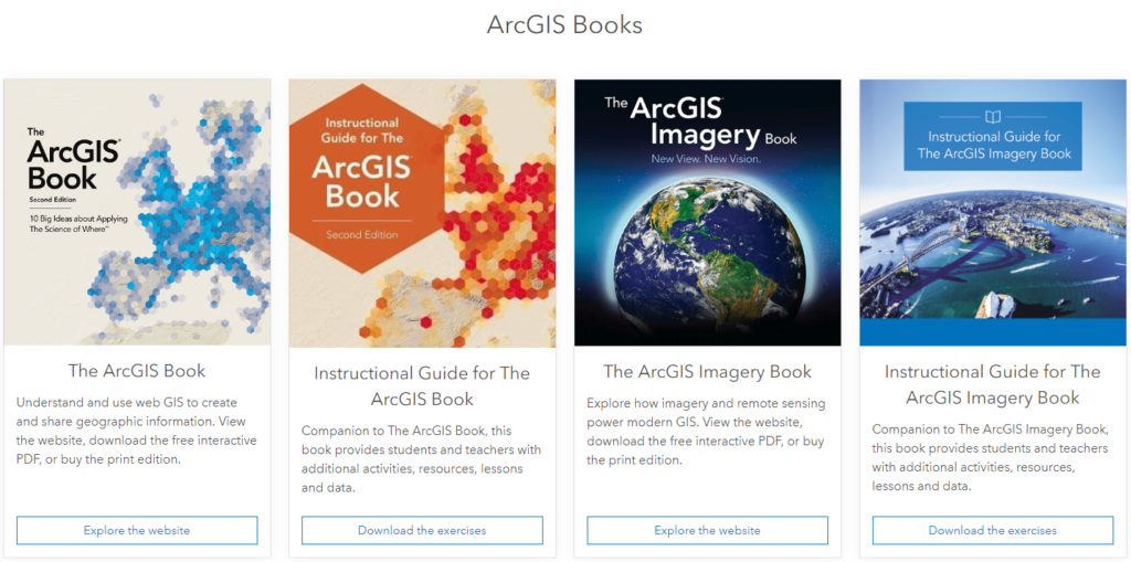 Learn ArcGIS sitesi size CBS hakkında bilginizi geliştirebileceğiniz ücretsiz kitaplar da sunmaktadır.