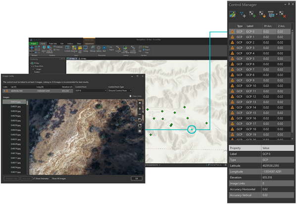 Control Manager, Image Links Editor ve harita arasında üç yönlü senkronizasyon ile görüntü bağlantılarını daha hızlı bulun ve yerleştirin.